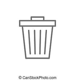 Vector trash can, garbage, waste line icon.