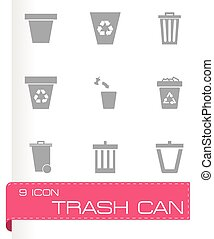 Vector trash can icon set