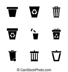 Vector trash can icon set