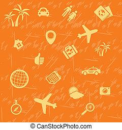 Vector travel background orange. Seamless pattern