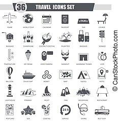 Vector Travel black icon set. Dark grey classic design for web.