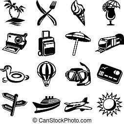 Vector travel black icon set