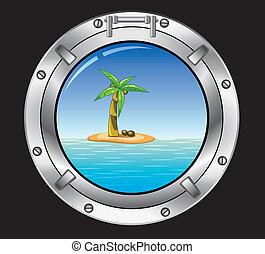 metal porthole and palm tree