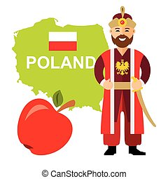 Vector Travel Concept Poland. Flat style colorful Cartoon illustration.