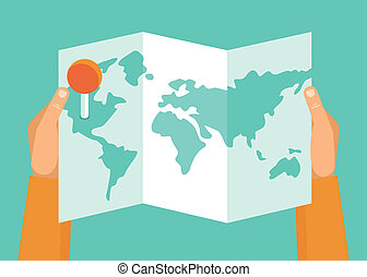 Vector travel concept - Vector travel plan concept - hands...