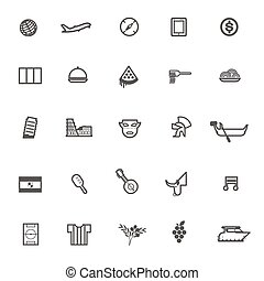 vector travel icon Italy and Spain on white background
