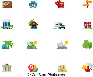 Vector travel icon set - Set of the simple colorful travel...