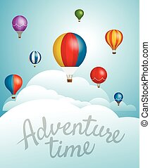 Vector travel illustration with balloons. Template for a text