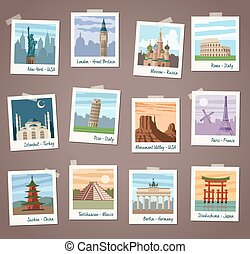Vector Travel instant Photos Collection - Collection of...