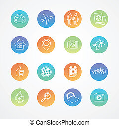 Vector travel outline icon set
