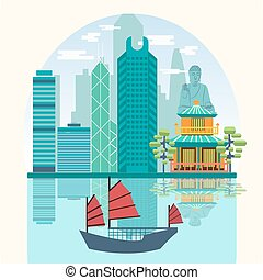 Vector Travel skyline harbour with tourist junk. Attractive Hong Kong travel concept poster design.