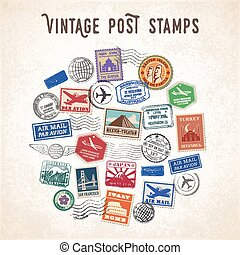 Vector Travel Stamps Design - Vector illustration of a...