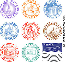 Vector Travel stamps - High quality Vector Stamps of major...