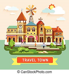 Vector Travel town vintage building where shopping...
