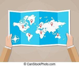 Vector Travel world map in hands