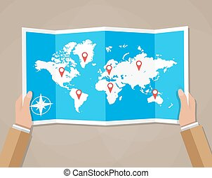 Vector Travel world map in hands