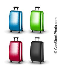 Vector traveler suitcases. Baggage for journey tourism. Suitcase for vacation