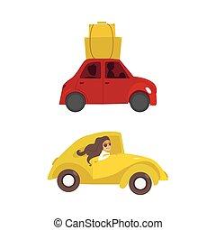 vector travelling car girl driving set