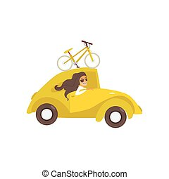 vector travelling car with bicycle, girl driving