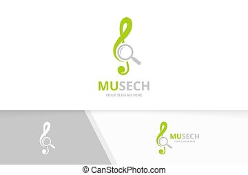 Vector treble clef and loupe logo combination. Music and magnifying symbol or icon. Unique sound and search logotype design template.