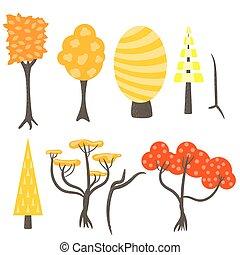 Vector tree clip art nature set.