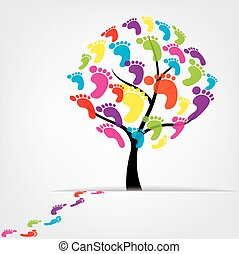 vector tree, foot, paw, print