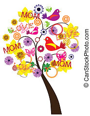 tree for mother's day - vector tree for mother's day