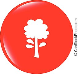 vector Tree icon on round button collection original illustration