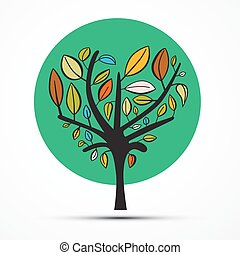 Vector Tree Illustration Isolated on White