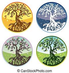 Vector tree in four seasons