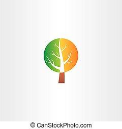 vector tree logo green orange icon