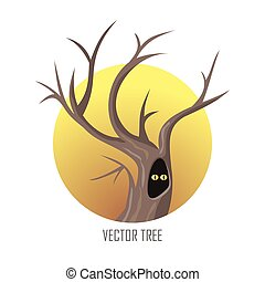 Vector tree. Oak Isolated on White. Vector - Vector tree....