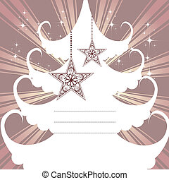 Vector tree of Christmas card with hanging stars.