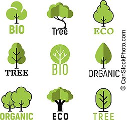Vector tree organic eco bio logo set