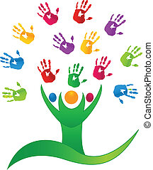 Vector Tree people hands logo