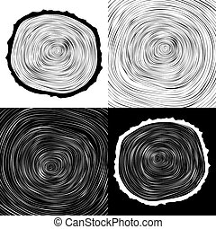 vector tree rings background and saw cut tree trunk