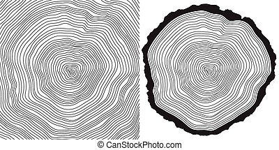 tree rings - vector tree rings background and saw cut tree...