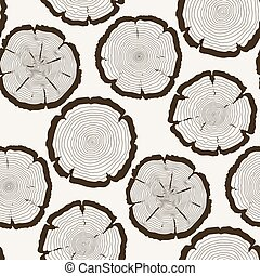 Vector tree rings cut trunk seamless pattern