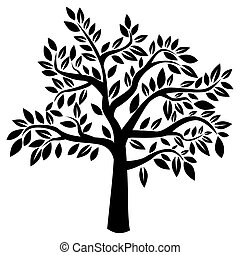 Vector tree - Silhouette of tree on white background (Vector...