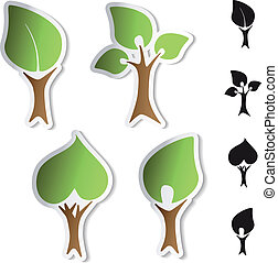 Vector tree stickers - bio symbols