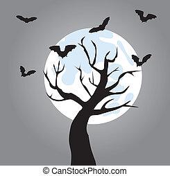 tree - vector tree with bats