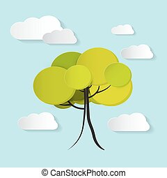 Vector Tree with Clouds Illustration