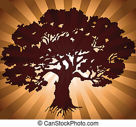 Tree with green burst background. Vector illustration
