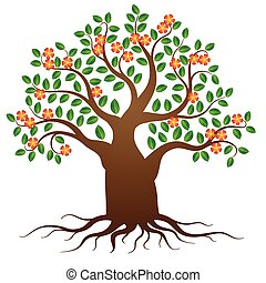 Vector tree with roots and flowers
