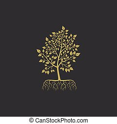 Vector tree with roots logo element. Tree with leaves modern...