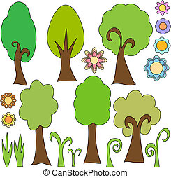 Vector trees and flowers collection