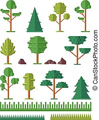 Vector trees flat icon set