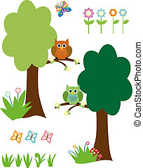 Vector Trees, Owls, Flowers and Butterfly