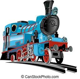 vector, trein, spotprent
