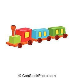 vector, trein, toy., kleurrijke, illustratie, vrijstaand